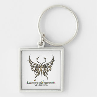 Granite toned butterfly keychain. Silver-Colored square keychain