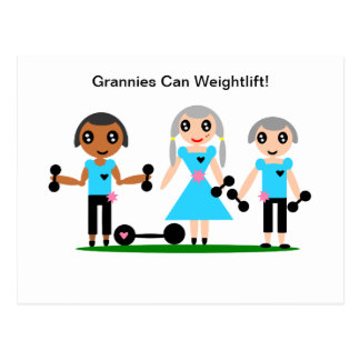 Grannies Can Weightlift Postcard