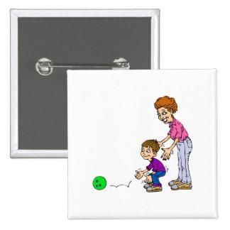 Granny & Boy Bowling 2 Inch Square Button