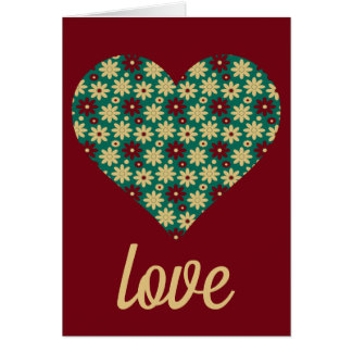 Granny Flowers Heart on Red Personalized Card