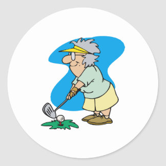 Granny Golfer Classic Round Sticker