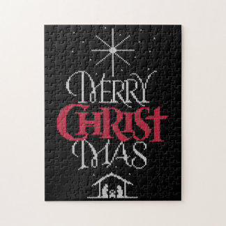 Granny Knit Religious Christian - Merry Christmas Jigsaw Puzzle