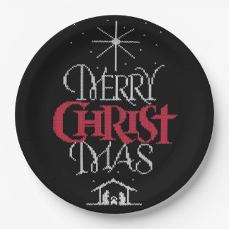 Granny Knit Religious Ugly Merry Christmas Sweater Paper Plate