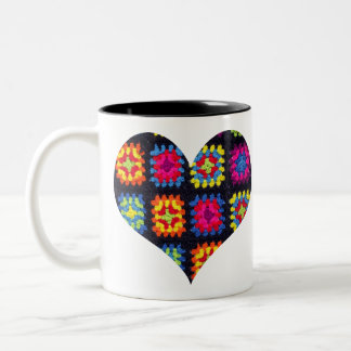 Granny Square Coffee Mug, Heart Crochet Coffee Mug