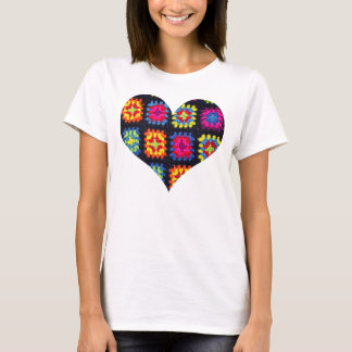 Granny Square T-shirt - Heart Crochet T-shirt