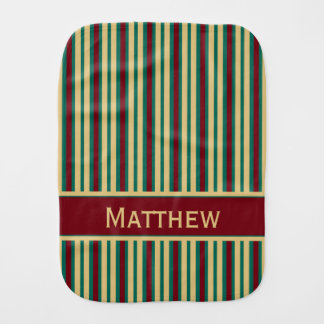 Granny Stripes Personalized Red Khaki Teal Baby Burp Cloth