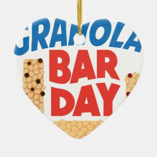 Granola Bar Day - Appreciation Day Ceramic Heart Ornament