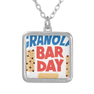 Granola Bar Day - Appreciation Day Silver Plated Necklace