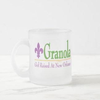Granola, Girl Raised At NOLa 10 Oz Frosted Glass Coffee Mug