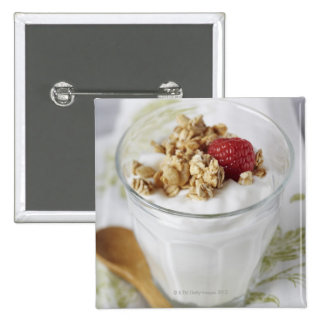 Granola, Oats, Toasted, Fruit, Berry, Raspberry, 2 Inch Square Button