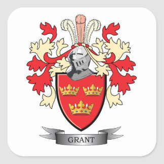 Grant Family Crest Coat of Arms Square Sticker