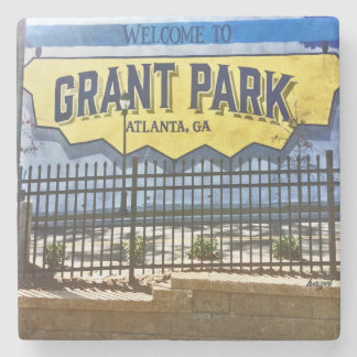 Grant Park, Atlanta, Welcome, Blue Mural, Coasters Stone Beverage Coaster