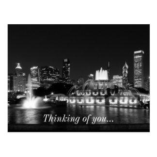 Grant Park Chicago Grayscale Postcard