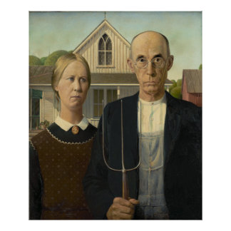 GRANT WOOD - American gothic 1930 Poster