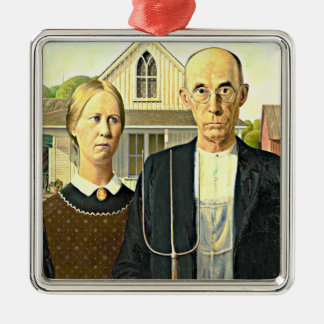 Grant Wood - American Gothic, famous Americana art Metal Ornament
