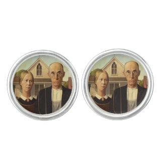 Grant Wood American Gothic Fine Art Painting Cufflinks