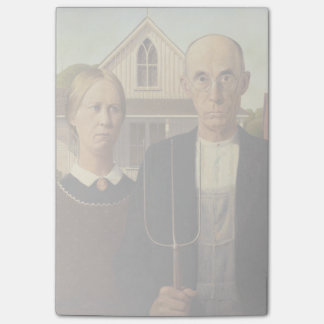 Grant Wood American Gothic Fine Art Painting Sticky Note