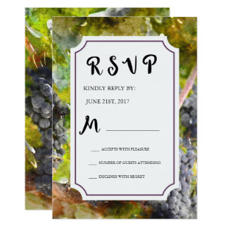 Grape and Vineyard Watercolor Wedding RSVP Card