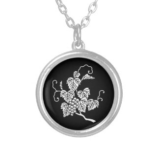Grape branch silver plated necklace