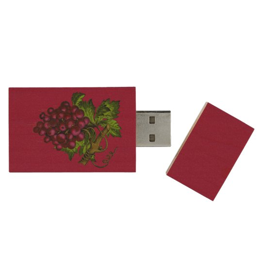 Grape Bunch Dripping Blood Wood USB Flash Drive