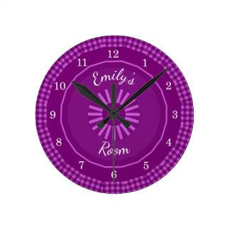 Grape Gingham Checks  Monogrammed Round Clock