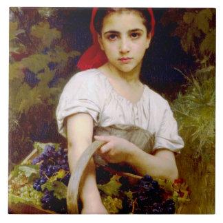 Grape Harvester William Bouguereau Fine Art Tile