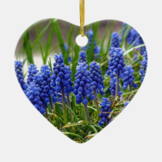 Grape Hyacinth Ceramic Heart Ornament