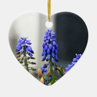 grape hyacinth ceramic heart ornament