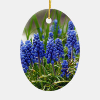 Grape Hyacinth Ceramic Oval Ornament