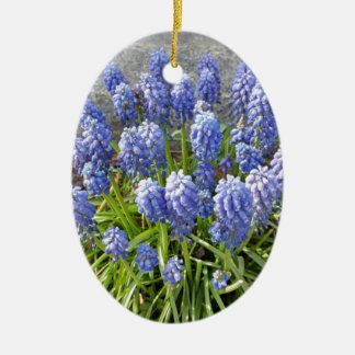 Grape Hyacinth Ceramic Oval Ornament