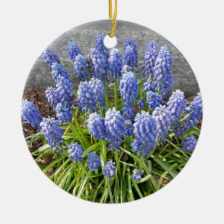 Grape Hyacinth Round Ceramic Ornament