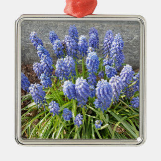Grape Hyacinth Silver-Colored Square Ornament