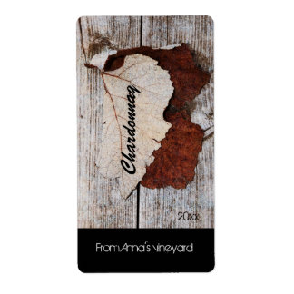 grape leaf on wooden board wine bottle label shipping label
