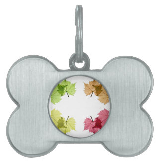 grape leaves in front of white background pet name tag