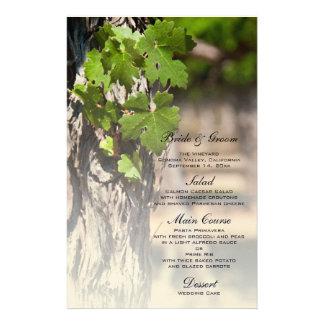 Grape Leaves Vineyard Wedding Menu Stationery Paper