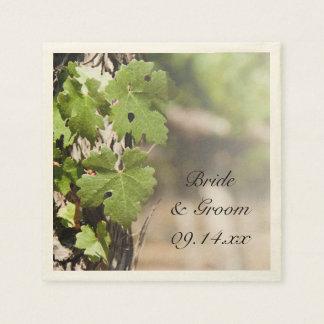 Grape Leaves Vineyard Wedding Paper Napkin