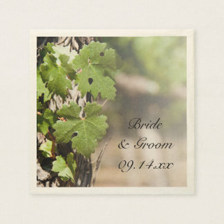 Grape Leaves Vineyard Wedding Paper Napkins