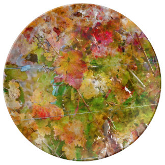 Grape Leaves with Vintage Film Style Porcelain Plates