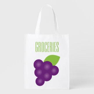 Grape Print Grocery Reusable Grocery Bag