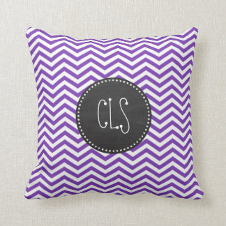 Grape Purple Chevron Stripes; Chalkboard look Throw Pillow