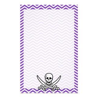 Grape Purple Chevron Stripes; Jolly Roger Stationery