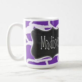 Grape Purple Giraffe Animal Print; Chalkboard look Coffee Mug