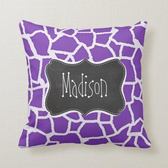 Grape Purple Giraffe Animal Print; Chalkboard look Throw Pillow