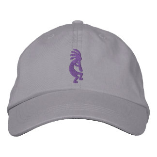 Grape Purple Kokopelli Gray Embroidered Hats