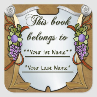 Grape Swags (Personalized Bookplate Sticker) Square Sticker