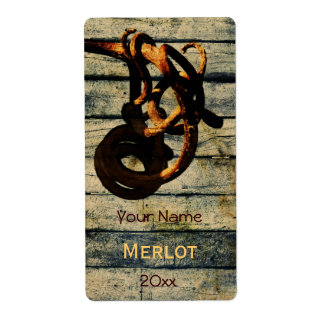 Grape vine tendril wine bottle label