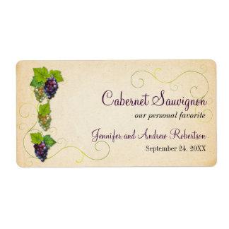 Grape Vine Wine Bottle Horizontal Labels