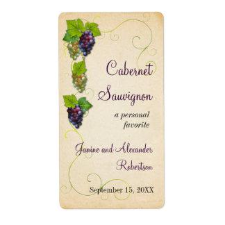 Grape Vine Wine Bottle Shipping Labels