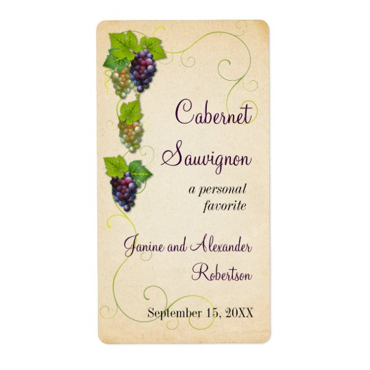 Grape Vine Wine Bottle Shipping Label