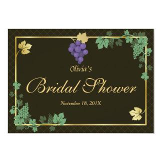 Grape Vines Gold Frame Bridal Shower Invitation